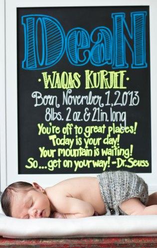 Dean's Newborn Chalkboard